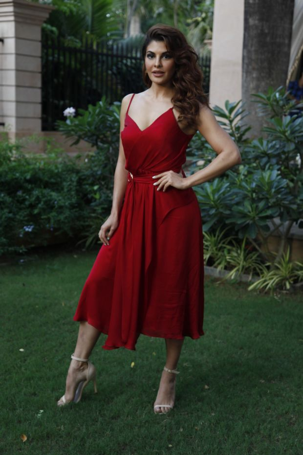 Jacqueline Fernandez Looks Beautiful In Red Dress At An Event