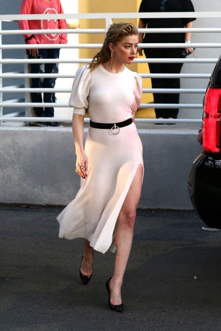 Amber Heard In A White Dress Outside Univision Headquarters In Miami
