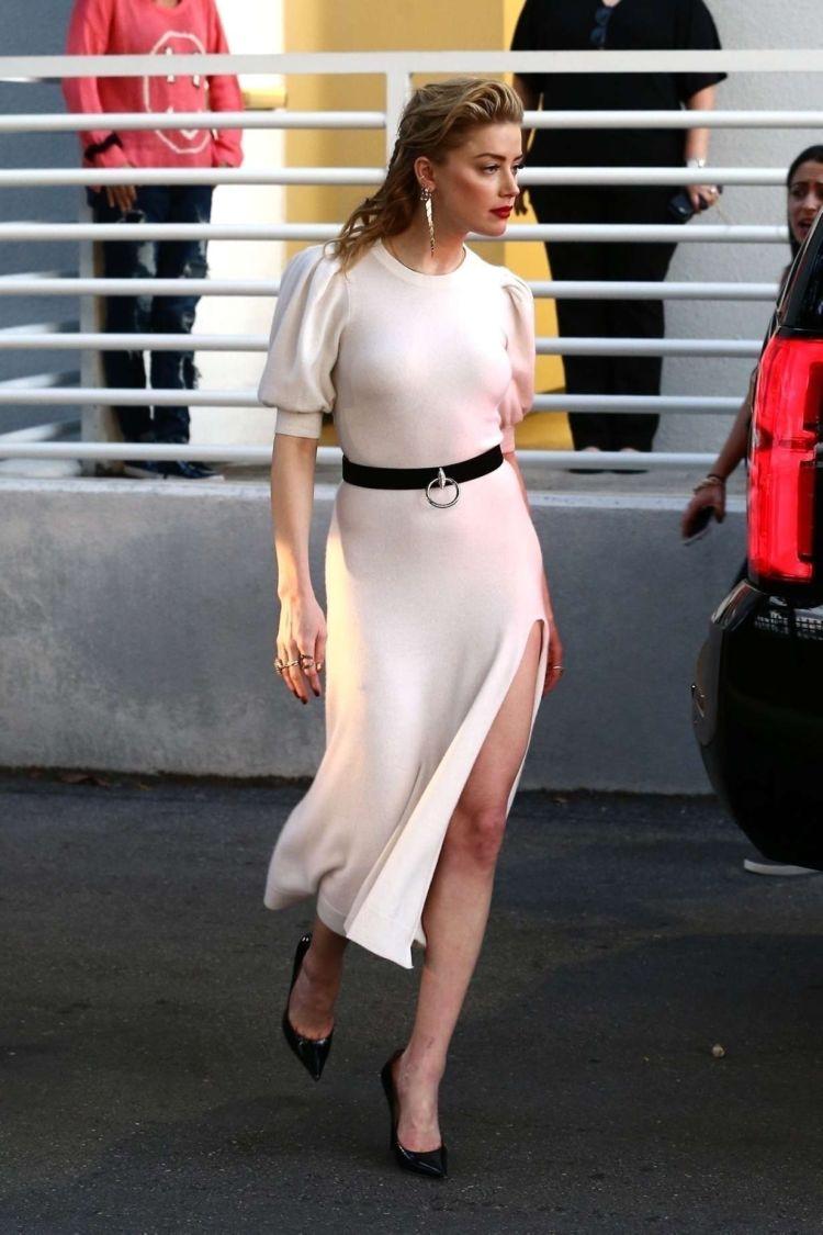 Amber Heard In A White Dress Outside Univision Headquarters In Miami