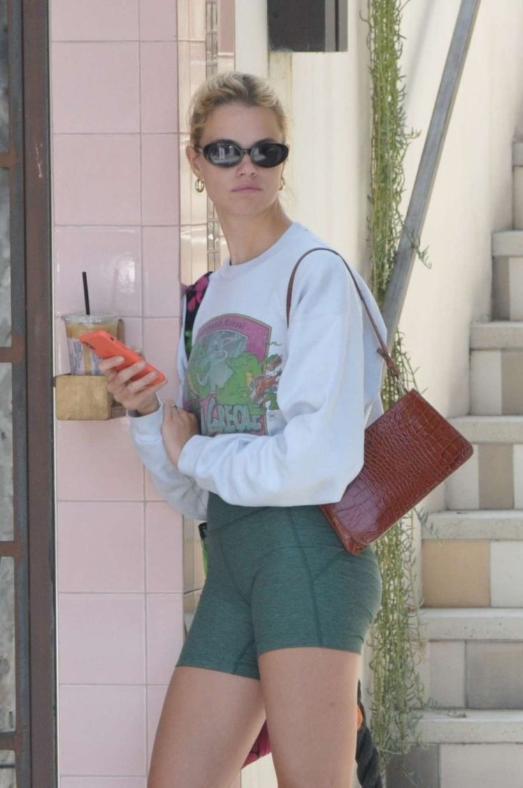 Hailey Clauson Candids In Shorts At Alfred's Tea Room In LA