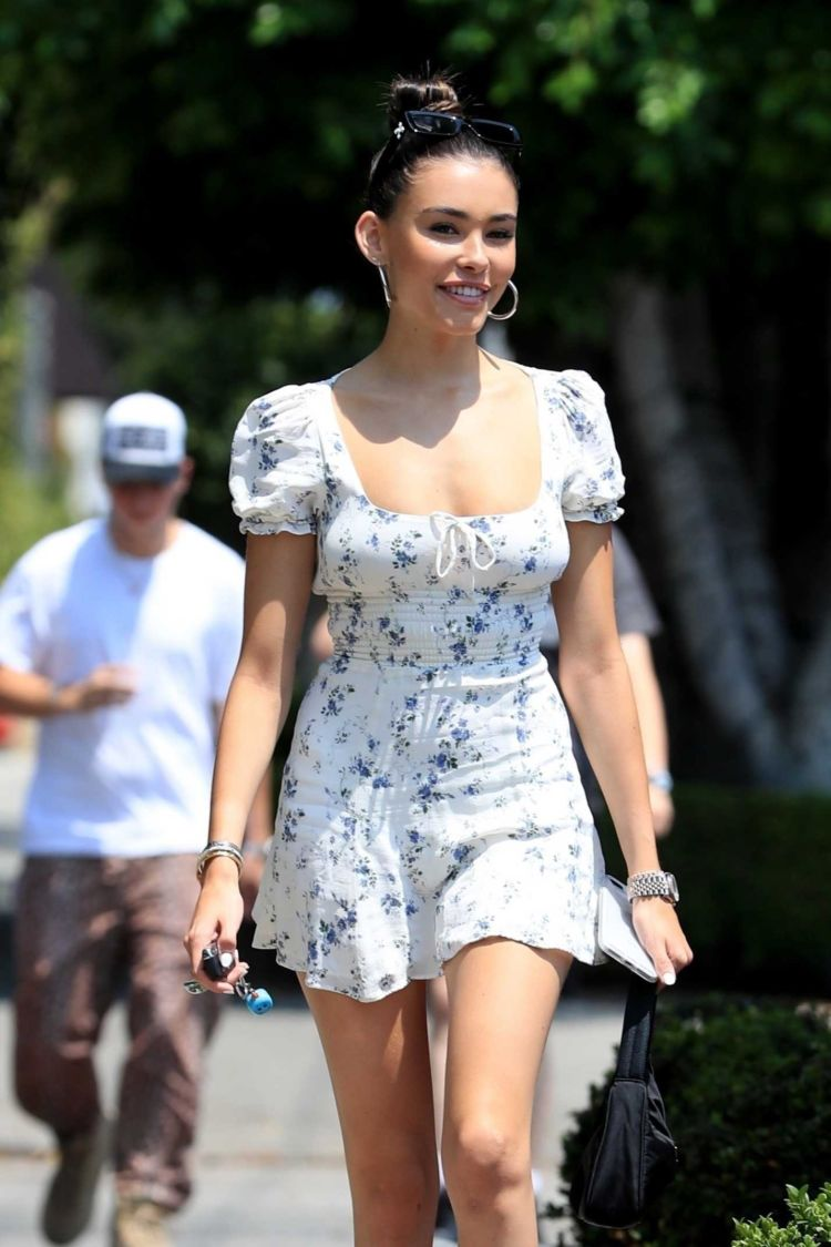Pretty Madison Beer In A Printed White Dress Out In West Hollywood