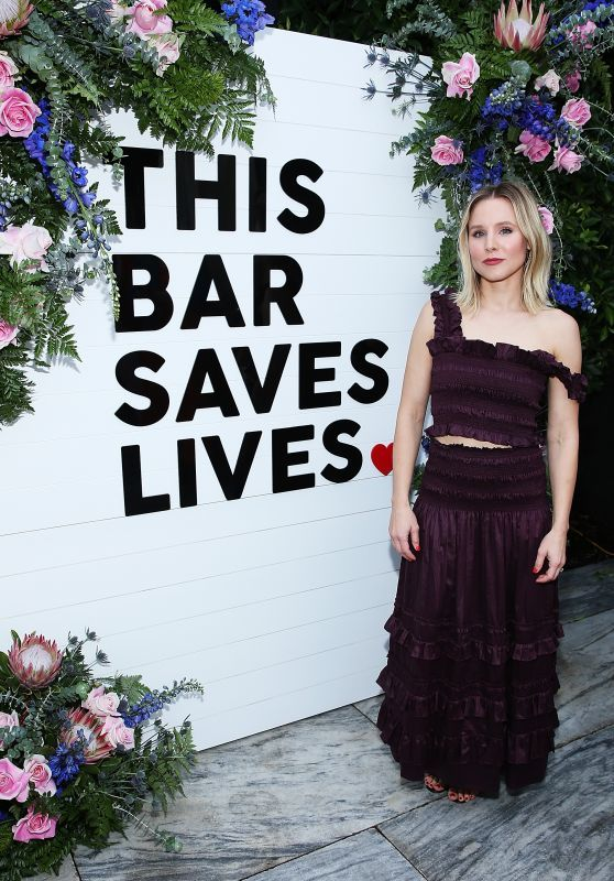 Beautiful Kristen Bell In Black Dress At 'This Bar Saves Lives' Press Launch Party