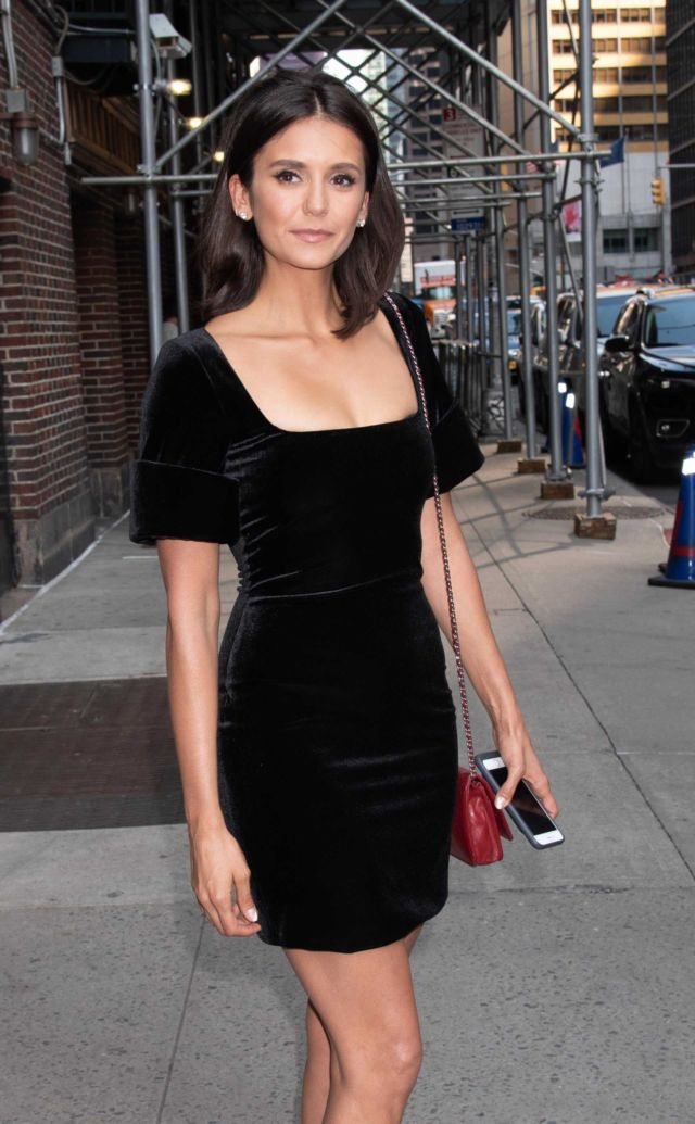 Nina Dobrev In Black Dress For 'The Late Show With Stephen Colbert'
