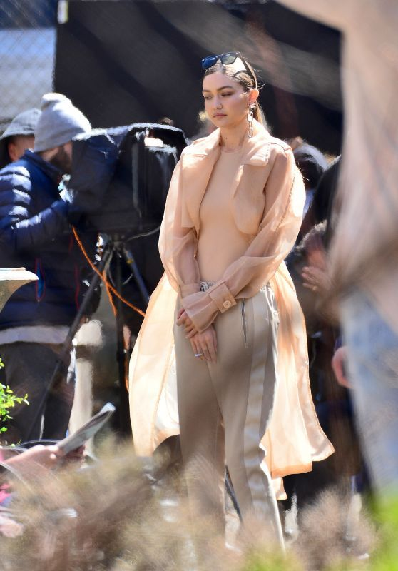 Gigi Hadid Spotted On Her Photoshoot Set In New York