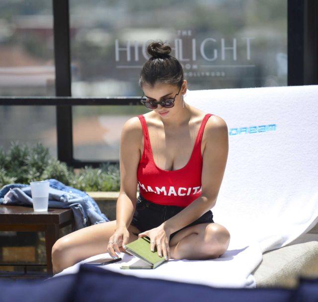 Rebecca Black Look Pretty In Red Swimsuit