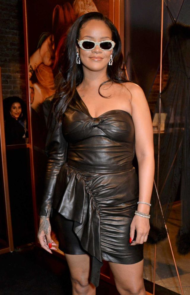 Rihanna In A Leather Dress At Savage X Fenty Pop-Up Shop Launch