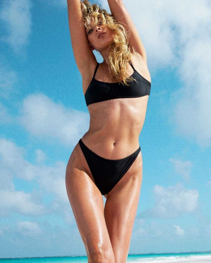 Elsa Hosk Posing In Solid And Striped Bikini For 2018 Photoshoot