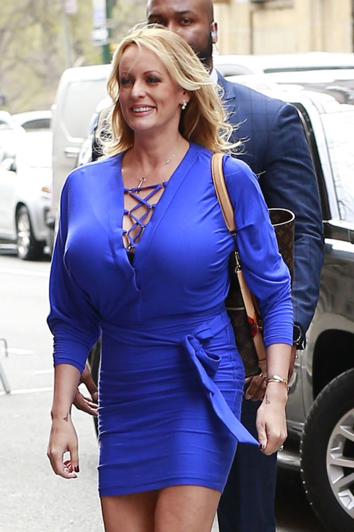 Stormy Daniels Arriving At The View TV Show In A Blue Dress